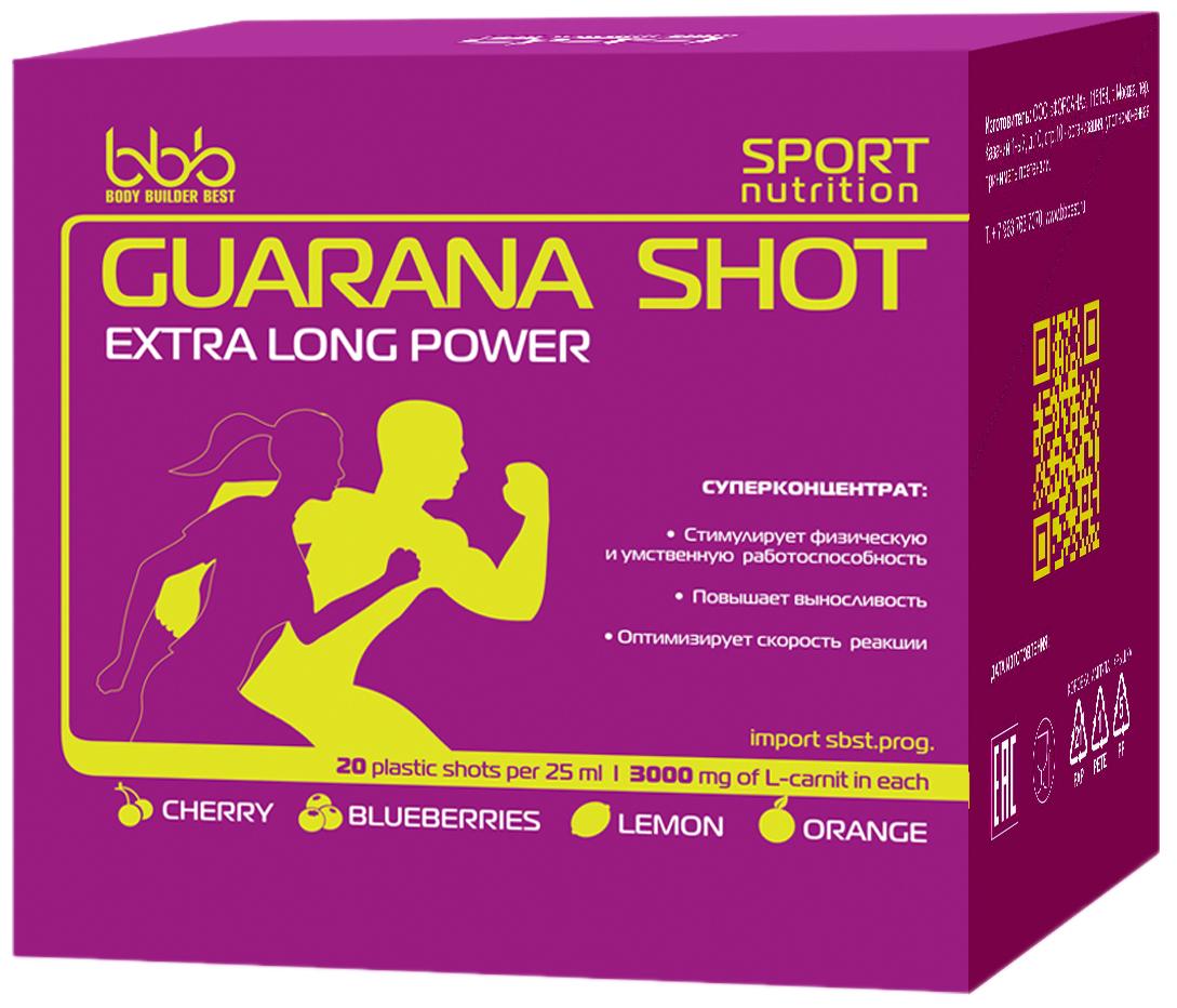 Энергетический напиток bbb Гуарана / Guarana. Лимон, 25 мл, 20 ампул105233Суперконцентрат: - стимулирует физическую и умственную работоспособность - повышает выносливость - оптимизирует силу и скорость реакций В каждой ампуле 150мг кофеина (гуарана в пересчёте на кофеин + кофеин) Рекомендации по применению: Принимать по 1 ампуле за 20-30 минут до нагрузок. Состав: экстракт гуараны 22% - 500 мг (в т.ч. кофеин-110мг), кофеин - 40мг, аскорбиновая кислота, ароматизатор, идентичный натуральному, подсластитель сукралоза, вода очищенная.