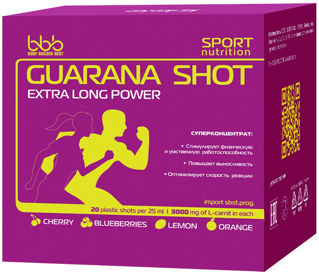 Энергетический напиток bbb Гуарана / Guarana. Микс, 25 мл, 20 ампул105304Суперконцентрат: - стимулирует физическую и умственную работоспособность - повышает выносливость - оптимизирует силу и скорость реакций В каждой ампуле 150мг кофеина (гуарана в пересчёте на кофеин + кофеин) Рекомендации по применению: Принимать по 1 ампуле за 20-30 минут до нагрузок. Состав: экстракт гуараны 22% - 500 мг (в т.ч. кофеин-110мг), кофеин - 40мг, аскорбиновая кислота, ароматизатор, идентичный натуральному, подсластитель сукралоза, вода очищенная.
