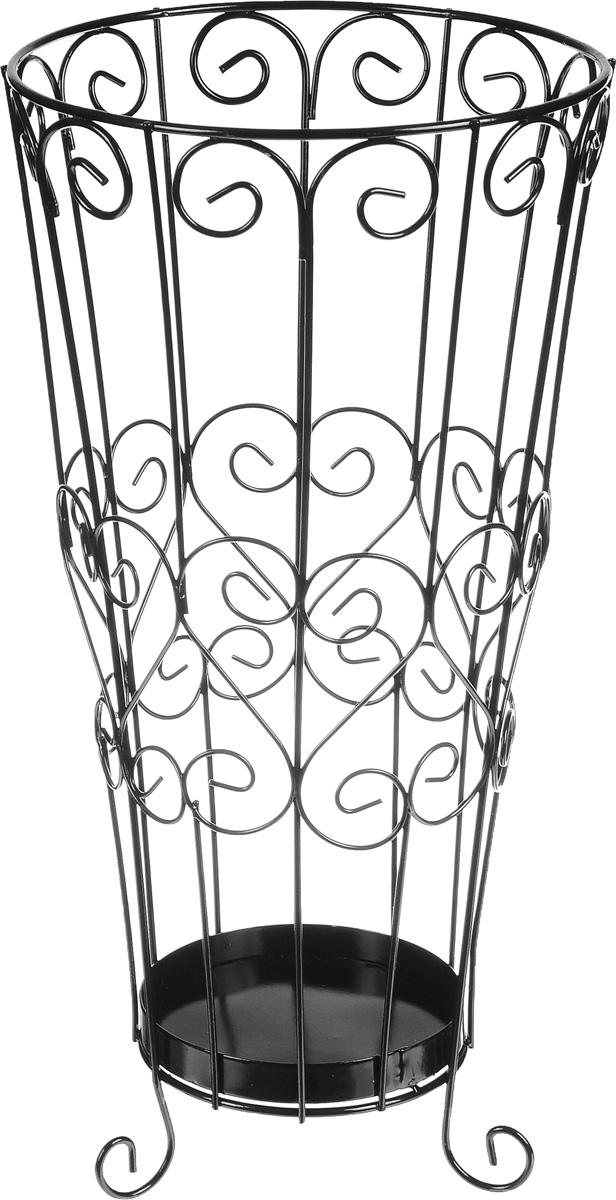 Подставка для зонтов Magic Home Ажурная, цвет: черный, 22 х 22 х 44 см44157Подставка Ажурная, изготовленная из окрашенного металла, предназначена для хранения зонтов. Подставка выполнена в виде красиво изогнутых металлических прутьев. Изделие располагается на изящных ножках-завитках. Оригинальный дизайн изделия идеально впишется в интерьер любой прихожей. Подставка компактная и не занимает много места. Подставка для зонтов - это не только способ организовать пространство, но и идеальный элемент декора. Диаметр подставки: 22 см. Высота подставки: 44 см.