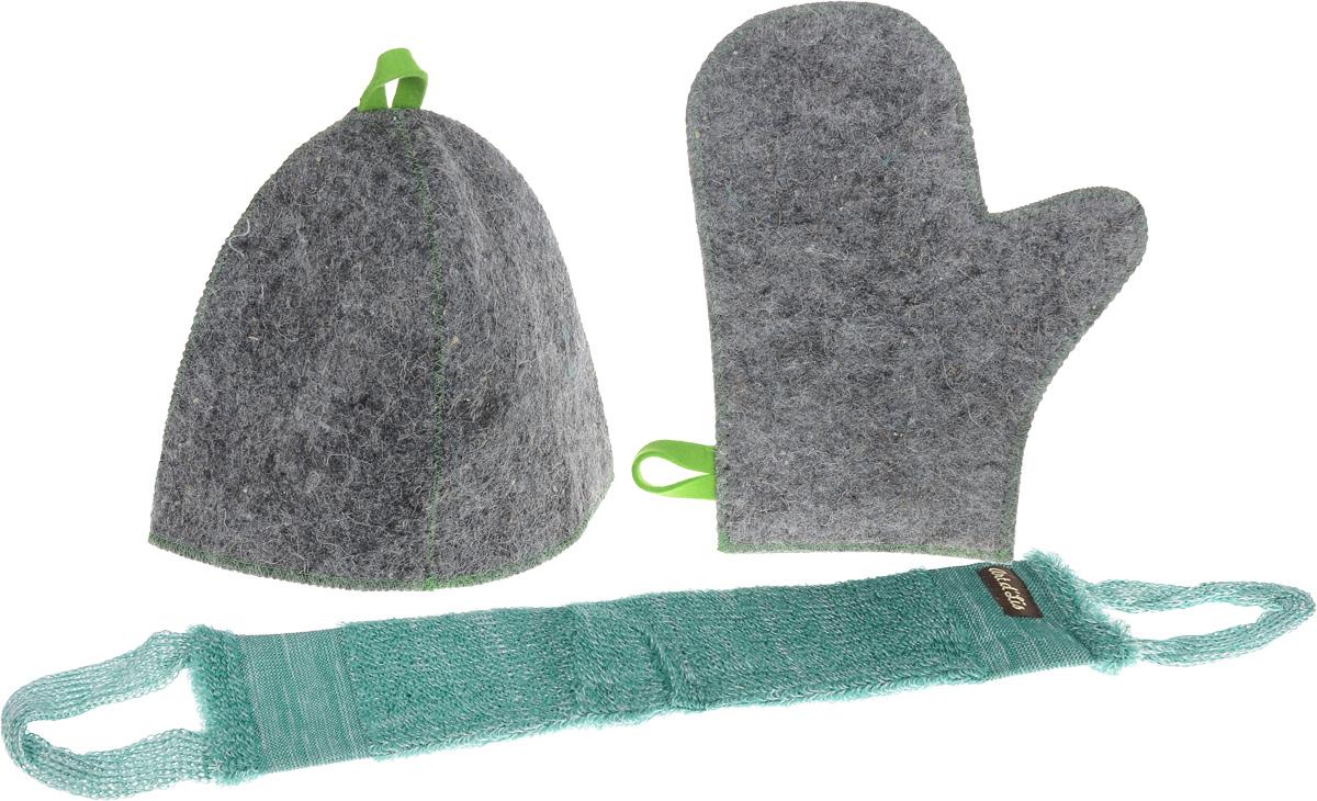 Набор для бани и сауны Главбаня Банная классика, в чехле, 4 предметаБ32323Оригинальный набор для бани Главбаня Банная классика включает в себя шапку, рукавицу и мочалку. Предметы комплекта обладают великолепными гигроскопичными свойствами и защищают от высоких температур в парной. Оригинальный дизайн изделий добавит эстетики банным процедурам. Такой набор поможет с удовольствием и пользой провести время в бане, а также станет чудесным подарком друзьям и знакомым, которые по достоинству его оценят при первом же использовании. Набор упакован в удобный чехол на молнии для хранения. Рекомендуется ручная стирка. Размер мочалки (с учетом ручек): 71 х 9,5 см. Обхват головы: 69 см. Размер рукавицы: 29 х 23 см.