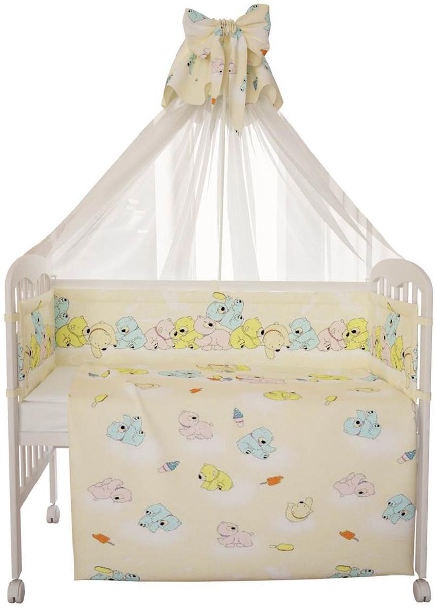 Комплект в кроватку Фея Мишки, цвет: желтый, 7 предметов5558-3Комплект в кроватку Фея Мишки прекрасно подойдет для кроватки вашего малыша, добавит комнате уюта и согреет в прохладные дни. В качестве материала верха использован натуральный 100% хлопок. Мягкая ткань не раздражает чувствительную и нежную кожу ребенка и хорошо вентилируется. Бортик, подушка и одеяло наполнены холлотеком, нетканым материалом, который производится из полых сильно извитых волокон. За счет этого материал приобретает объем, упругость, и особенную мягкость. Балдахин выполнен из легкой прозрачной вуали. Очень важно, чтобы ваш малыш хорошо спал - это залог его здоровья, а значит вашего спокойствия. Комплект Фея Мишки идеально подойдет для кроватки вашего малыша. На нем ваш кроха будет спать здоровым и крепким сном. Комплектация: - бортик (2 х 35 см х 60 см, 2 х 35 см х 120 см); - балдахин (150 см х 300 см); - плоская подушка (40 см х 60 см); - одеяло (110 см х 140 см); - пододеяльник (110 см х 140 см);...