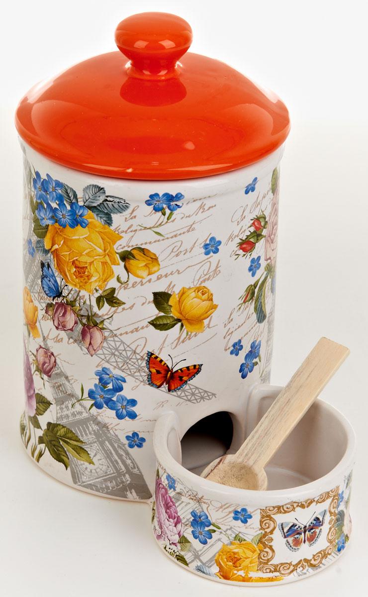 Банка для сыпучих продуктов Nouvelle De France Лето в Европе, двойная, с ложечкой, 800 мл0660099Баночка для специй двойная 800 мл и 120 мл, с крышкой и деревянной ложечкой. Изготовлена из керамики. Будет уместна в любом интерьере. Изделие упаковано в подарочную коробку.