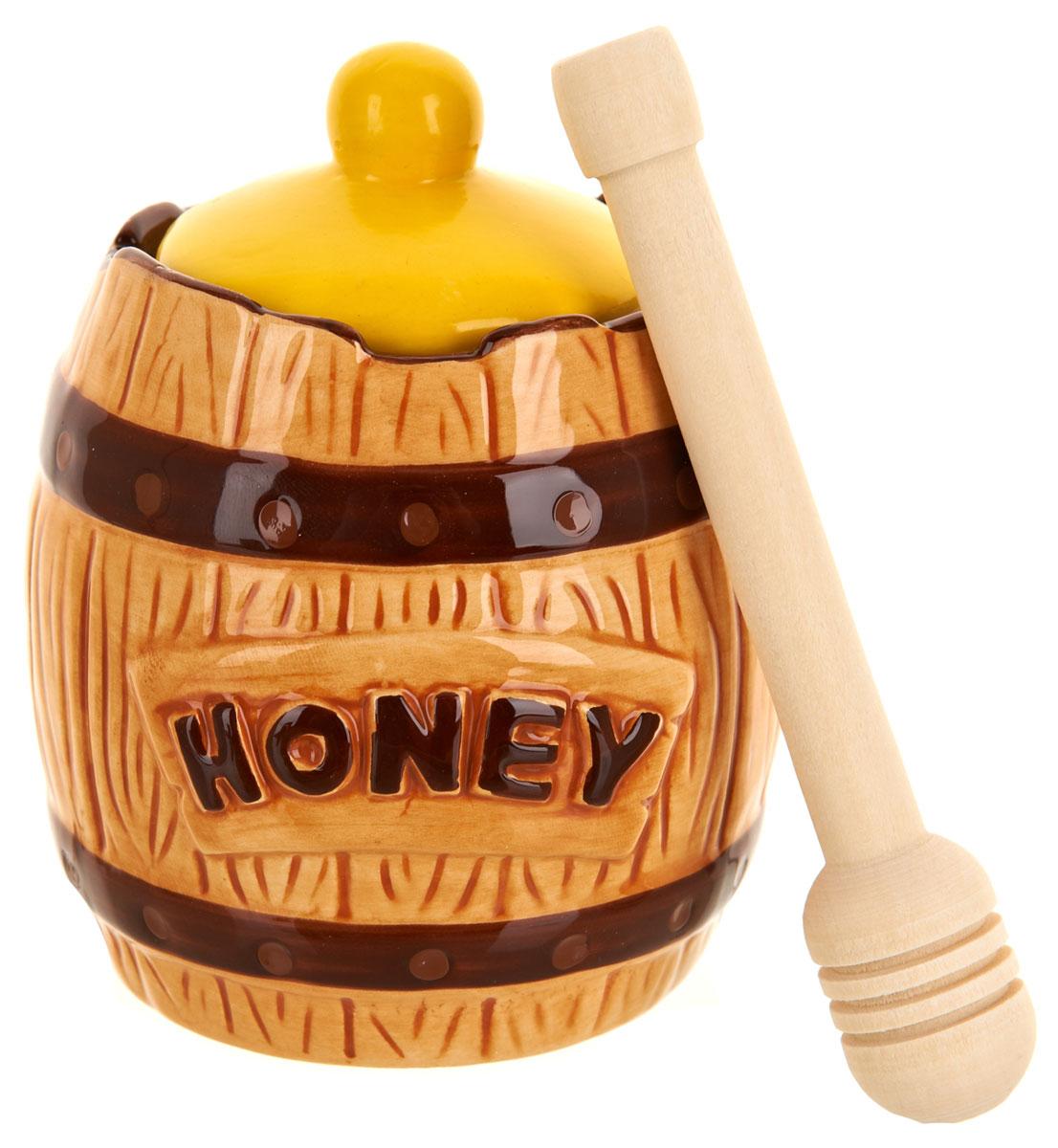 Медовница ENS Group Honey, с ложкой, 300 мл1290368Медовница Honey изготовлена из высококачественной керамики. Изделие оформлено изысканным рисунком.