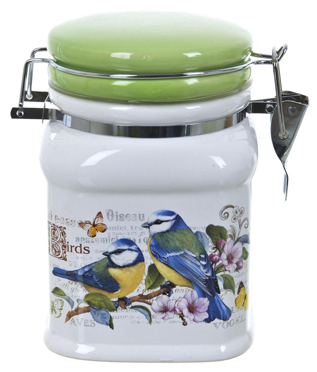 Банка для сыпучих продуктов Polystar Birds, 700 млVT-1520(SR)Банка для сыпучих продуктов Polystar Birds изготовлена из прочной доломитовой керамики, покрытой слоем сверкающей гладкой глазури. Изделие оформлено красочным изображением. Банка прекрасно подойдет для хранения различных сыпучих продуктов: чая, кофе, сахара, круп и многого другого. Благодаря силиконовой прослойке и бугельному замку, крышка герметично закрывается, что позволяет дольше сохранять продукты свежими. Изящная емкость не только поможет хранить разнообразные сыпучие продукты, но и стильно дополнит интерьер кухни. Изделие подходит для использования в посудомоечной машине и в холодильнике.
