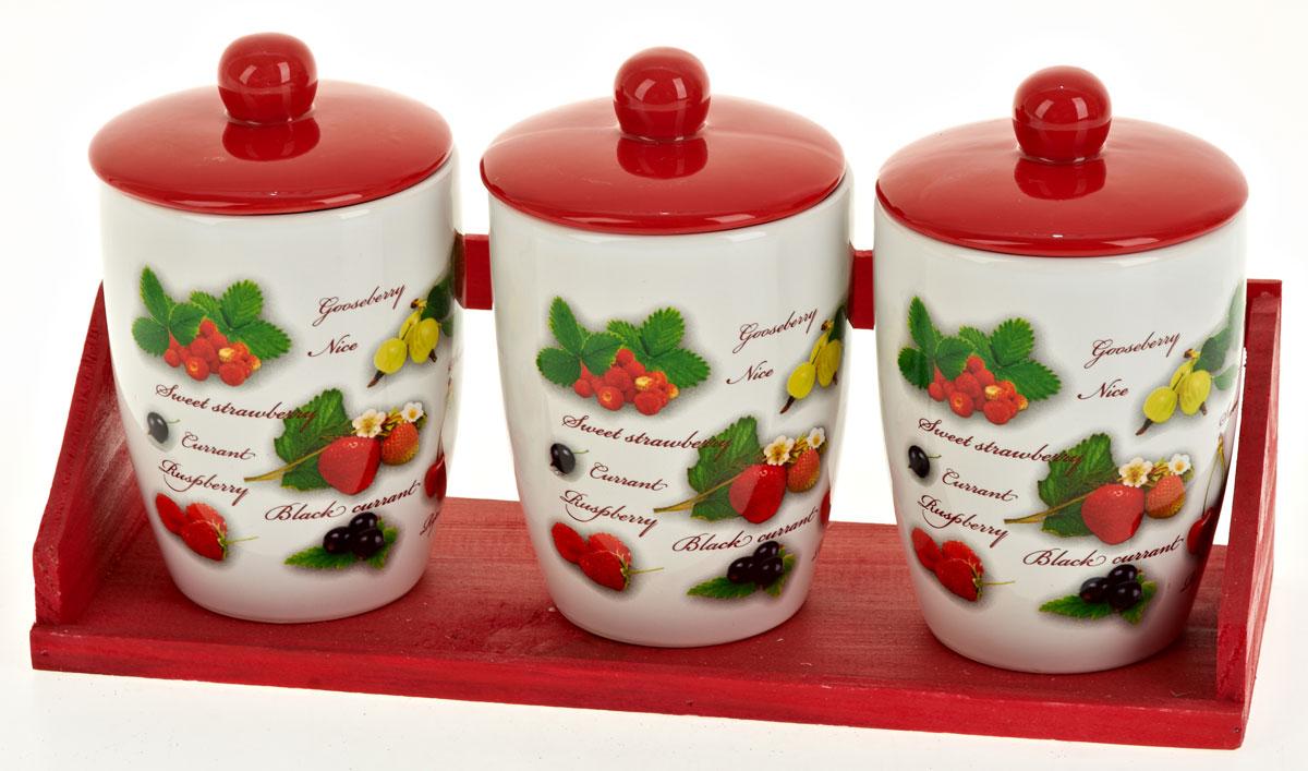 Набор банок для сыпучих продуктов Polystar Садовая ягода, 4 предмета. L2520286L2520286Набор состоит из трех банок для сыпучих продуктов и деревянной подставки. Изделия выполнены из прочной доломитовой керамики высокого качества. Гладкая и ровная глазурованная поверхность обеспечивает легкую очистку. Изделия декорированы красочным рисунком. Такие банки прекрасно подойдут для хранения различных сыпучих продуктов: специй, чая, кофе, сахара, круп и многого другого. Крышка плотно прилегает к стенкам емкости. Можно использовать в микроволновой печи, в холодильнике и посудомоечной машине. Диаметр банки: 9,5 см. Высота банки: 16 см. Объем банки: 600 мл.
