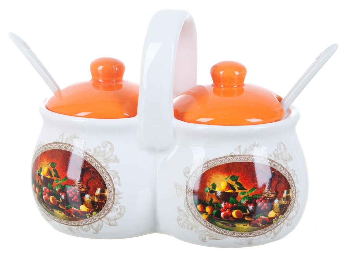 Банка для сыпучих продуктов Polystar Севилья, двойная, с ложками, 200 млL2520556Баночка для специй двойная 250 мл каждая емкость, с крышками и двумя керамическими ложечками. Изготовлена из керамики. Будет уместна в любом интерьере. Изделие упаковано в подарочную коробку.