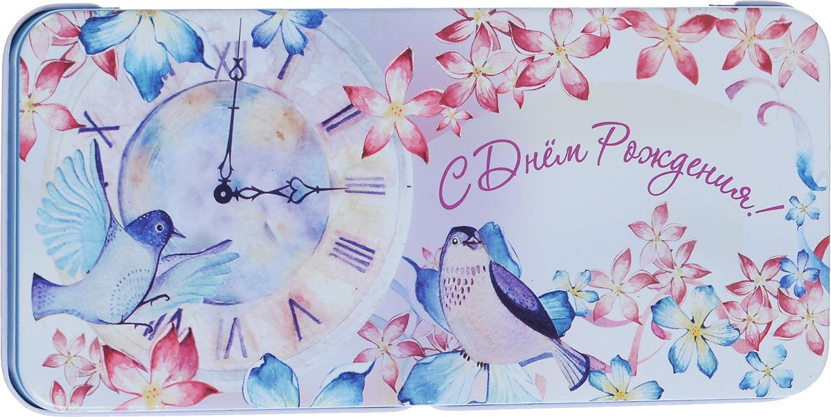 Коробка подарочная Феникс-Презент Часы и птичка, 16,6 х 7,6 х 1 см43683Подарочная коробка Феникс-Презент Часы и птичка выполнена из черного окрашенного металла и украшена яркой картинкой, соответствующей событию, для которого предназначена. Подарочная коробка для денег - это наилучшее решение, если вы хотите порадовать ваших близких и создать праздничное настроение, ведь денежный подарок, преподнесенный в оригинальной упаковке, всегда будет эффектным и запоминающимся.