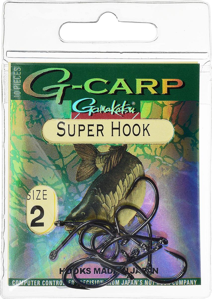 Крючок рыболовный Gamakatsu G-Carp. Super Hook, №2, 10 шт14682900200Крючок Gamakatsu G-Carp. Super Hook предназначен для применения в составе волосяных оснасток с тонущими насадками, сборными и балансированными на чистых участках дна. Универсальная форма крюка позволяет применять его не только в составе монтажей, но и насаживать наживку непосредственно на него. Областью применения является как стоячая вода, так и течение. Не имеют бокового отгиба, острие прямое, без подгиба внутрь. На сегодняшний день рыболовные крючки Gamakatsu являются лучшими по качеству в Японии и Европе. Все крючки выполняются из очень прочной стальной проволоки. Жала крючков имеют химическую заточку. Вид крепления: ушко. Размер крючка: №2.