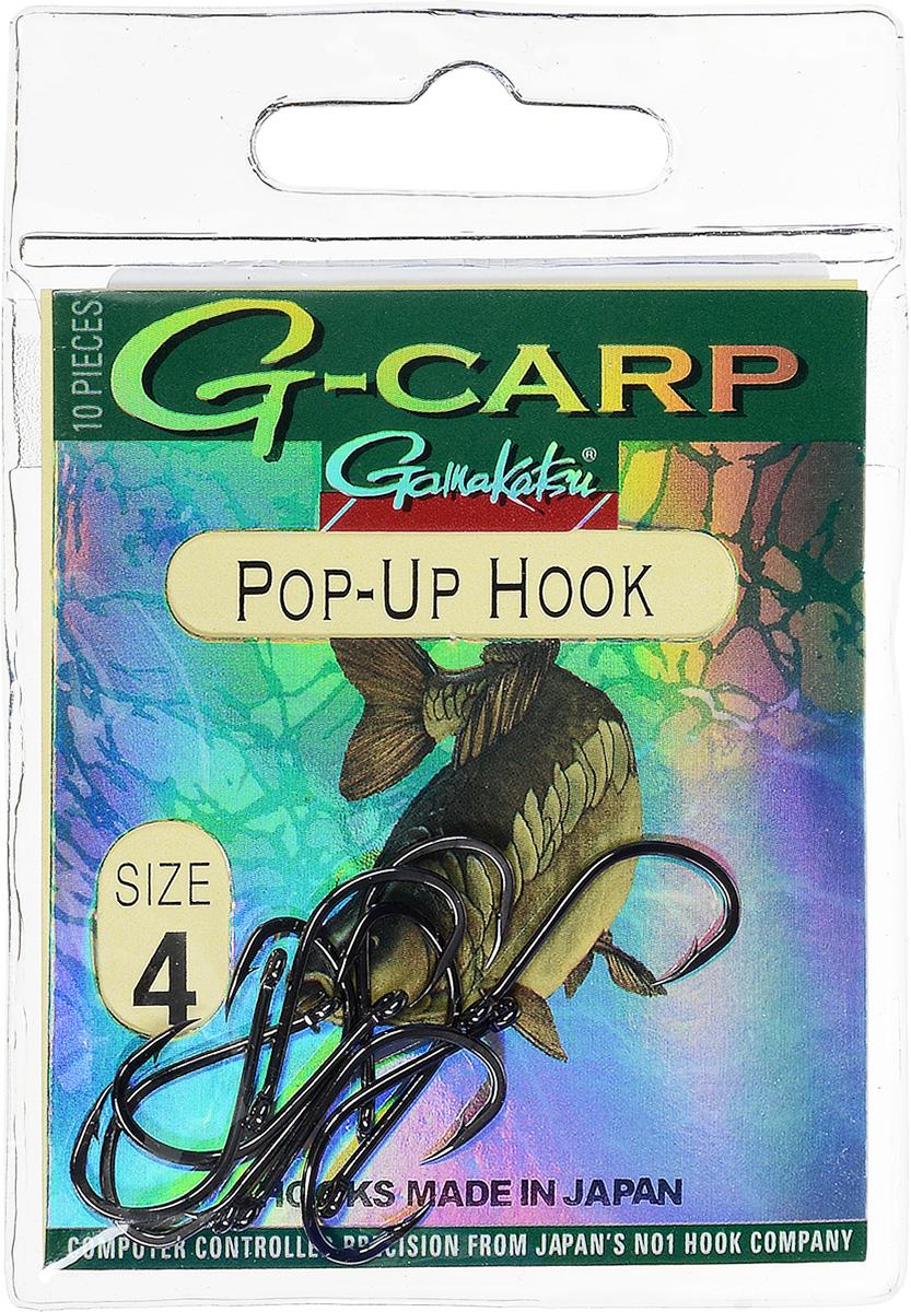 Крючок рыболовный Gamakatsu G-Carp. Pop-Up Hook, №4, 10 штH009Gamakatsu G-Carp. Pop-Up Hook - легкий прочный крючок универсальной формы, предназначенный для создания различных схем волосяной оснастки c Pop-Up наживками. Крючок содержит жало с углублением, кованое цевье, джиг-крючок, круглое ушко.На сегодняшний день рыболовные крючки Gamakatsu являются лучшими по качеству в Японии и Европе. Все крючки выполняются из очень прочной стальной проволоки. Жала крючков имеют химическую заточку. Вид крепления: ушко.Размер крючка: №4.