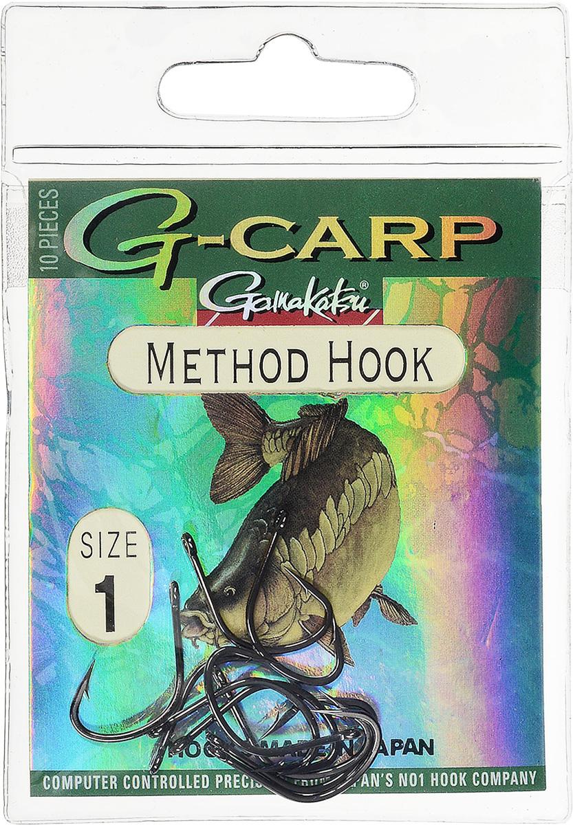 Крючок рыболовный Gamakatsu G-Carp. Method Hook, №1, 10 шт14682400100Крючок Gamakatsu G-Carp. Method Hook предназначен, в первую очередь, для применения в составе донных оснасток, сопряженных с кормушками, не только в карповой, но и в фидерной ловле. Увеличенная ширина загиба позволяет эффективно работать с приманками, расположенными непосредственно на крючке. Применимы в волосяных оснастках. Отлично работают на участках дна с наличием мусора. Применимы в стоячей воде и на течении. Имеют боковой отгиб жала, направленного в сторону колечка, что обеспечивает высокую эффективность их применения. Прокованная проволока обеспечивает при небольших диаметрах, большой резерв мощности. Вид крепления: кольцо. Размер крючка: №1.