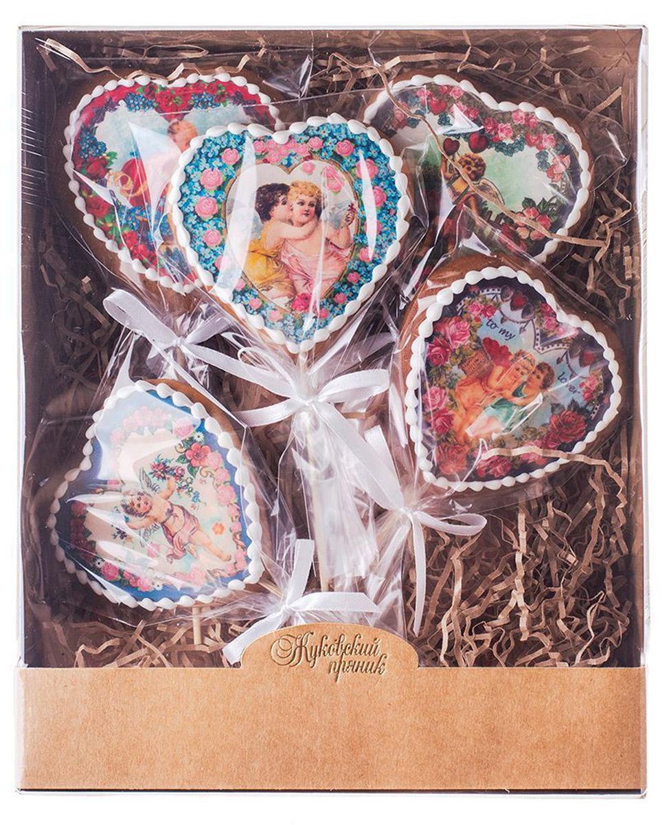Жуковский пряник Подарочный набор Ретро-открытки в форме сердца, 5 шт 00-00000565