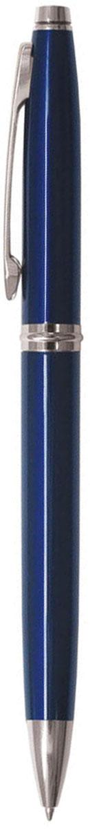 Berlingo Ручка шариковая Silver Classic синяя96732СКлассическая автоматическая шариковая ручка Berlingo Silver Classic с поворотным механизмом. Клип, наконечник и кольцо выполнены из жёлтого металла. Цвет чернил - синий. Диаметр пишущего узла - 0,7 мм. Подходит для нанесения логотипа. Ручка упакована в индивидуальный пластиковый футляр.