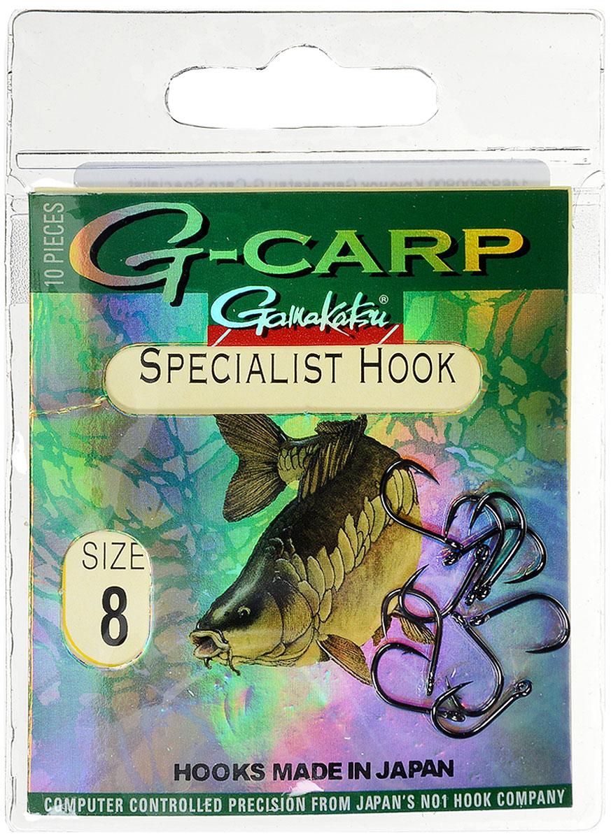 Крючок рыболовный Gamakatsu G-Carp. Specialist Hook, №8, 10 шт14682800800Gamakatsu G-Carp. Specialist Hook - карповый крючок с жалом с углублением, кованым прочным толстым цевьем, круглым ушком и крючком-джигом. На сегодняшний день рыболовные крючки Gamakatsu являются лучшими по качеству в Японии и Европе. Все крючки выполняются из очень прочной стальной проволоки. Жала крючков имеют химическую заточку. Вид крепления: ушко. Размер крючка: №8.