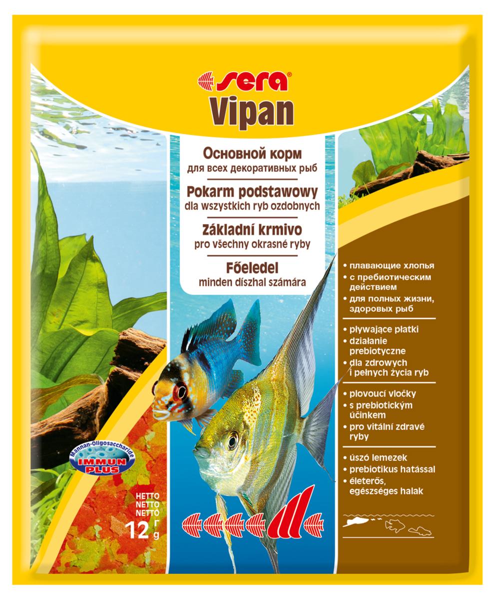 Корм для рыб Sera Vipan, 12 г0132Основной хлопьевидный корм для декоративных рыб в аквариумах со смешанным сообществом. Сбалансированный состав удовлетворяет потребности множества видов. Бережная обработка гарантирует сохранение ценных ингредиентов (например, жирных кислот Омега, витаминов и минералов). Метод его приготовления, применяемый фирмой sera, позволяет хлопьям сохранять свою форму в течение длительного времени, не загрязняя воду. Благодаря уникальной очень высокой степени измельчения, хлопья в тоже время очень нежны и поэтому охотно поедаются рыбой. Ингредиенты: рыбная мука, пшеничная мука, пивные дрожжи, казеинат кальция, гаммарус, яичный порошок, рыбий жир, маннан-олигосахарид (MOS 0,4%), спирулина, травы, люцерна, крапива, мука мука из зеленых губчатых молюсков, водоросли, зелень петрушки, перец, шпинат, чеснок, морковь. красители, разрешенные в ЕС. Кач. состав на кг: протеины 46,2%, жиры: 8,9%, клетчатка: 2,3%, зола: 11,9%, влажность: 6,7%, Вит А: 37000МЕ, Вит В1: 35мг, Вит В2: 90мг, Вит С: 550мг, Вит...