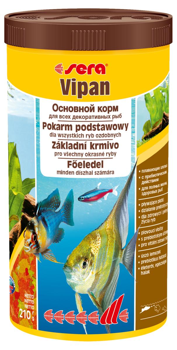 Корм для рыб Sera Vipan, 1 л (210 г)0170Корм для рыб Sera Vipan - хорошо сбалансированный основной корм в виде хлопьев, содержащий более 40 ингредиентов. Идеально подходит для ежедневного кормления всех декоративных рыб в общих аквариумах. Сбалансированный состав удовлетворяет потребности множества видов. Бережная обработка гарантирует сохранение ценных ингредиентов (например, жирных кислот Омега, витаминов и минералов). Белки и другие питательные вещества делают этот корм высокопитательным и легко перевариваемым рыбами. Формула Vital-Immun-Protect гарантирует вашим рыбам прекрасное здоровье, укрепление иммунитета и обилие жизненных сил. Специальный метод приготовления позволяет хлопьям сохранять свою форму в течение длительного времени, не загрязняя воду. Хлопья в то же время очень нежны и поэтому охотно поедаются рыбой. Ингредиенты: рыбная мука, пшеничная мука, пивные дрожжи, казеинат кальция, гаммарус, яичный порошок, рыбий жир, маннанолигосахарид (MOS 0,4%), спирулина, травы, люцерна, крапива, мука из...