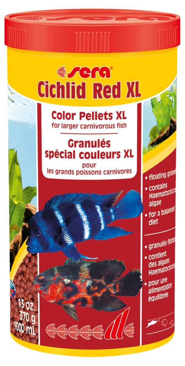Корм для рыб Sera Cichlid Red Xl, 1000 мл (370 г)0214Основной корм для крупных плотоядных цихлид. Cichlid Green XL является основным кормом, состоящим из специально подготовленных гранул для больших плотоядных цихлид и других крупных всеядных рыб. Высокое содержание белков и омега-жирных кислот из водорослей Haematococcus помогают достичь оптимального и здорового развития, цвета, имеют особый вкус и отличную поедаемость. Плавающие гранулы обладают высокой стабильностью в воде и не загрязняют воду. Инструкция по применению: Кормить один-два раза в день, но только в том количестве, которое рыбы могут съесть в течение короткого периода времени. Ингредиенты: рыбная мука (40%), кукурузный крахмал, пшеничная мука, пшеничная клейковина, пшеничные зародыши, пивные дрожжи, спирулина, рыбий жир (в т.ч. 49% Омега жирных кислот), водоросль гематококкус (0,5%), криль, маннанолиго-сахариды (0,4%), травы, люцерна, крапива,петрушка, зеленые мидии, морские водоросли, паприка, шпинат, морковь, чеснок. Аналитический состав: Протеин 40,0%, Жиры 7,5%,...