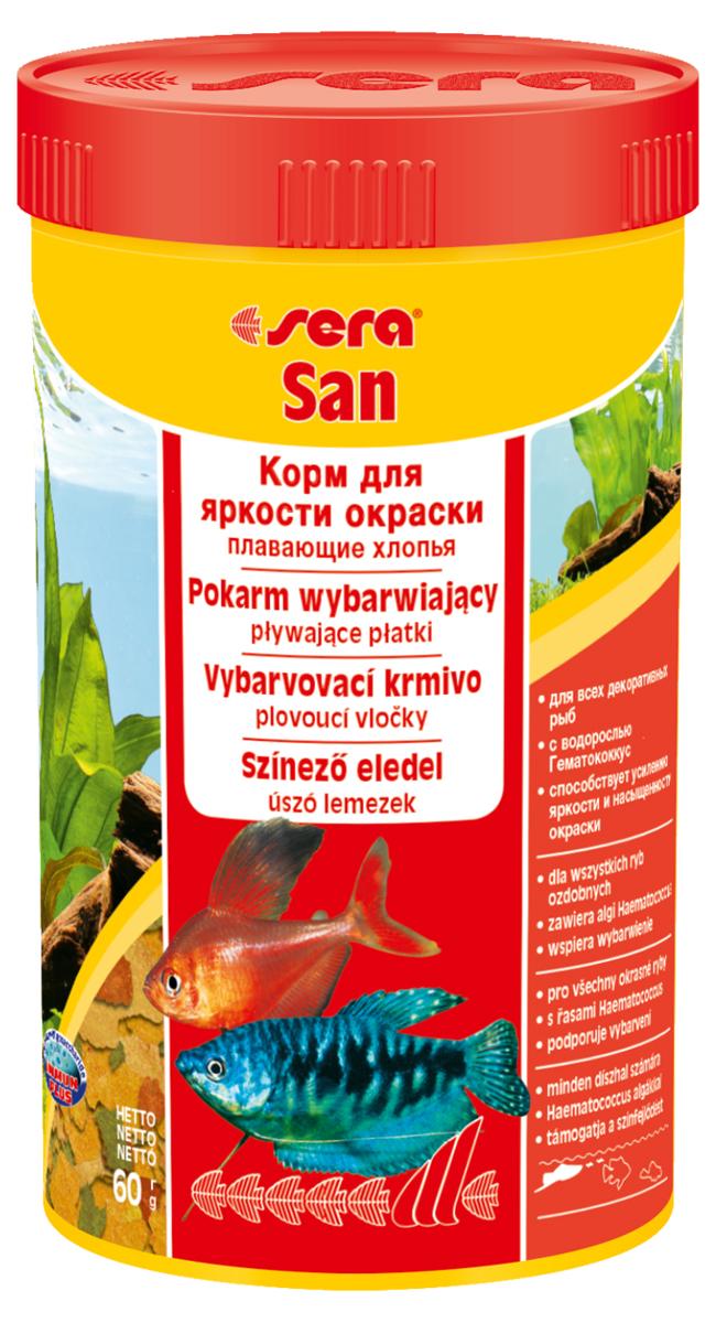 Корм для рыб Sera San, 250 мл (60 г)0120710Корм для рыб Sera San - основной корм для всех видов рыб, произведенный в виде хлопьев. Хлопья имеют очень тонкую и пластичную структуру, благодаря чему охотно поедаются даже самыми привередливыми рыбами. Благодаря высокому содержанию каротина и спирулины корм способствует улучшению окраски декоративных рыб. Сбалансированный состав и высокое содержание белков и витаминов позволяет добиться отличного роста у молодых рыб. Полноценный состав из более, чем 40 ингредиентов обеспечивает ежедневные потребности в питательных веществах типичного сообщества рыб. Формула Vital-Immun-Protect гарантирует вашим рыбам прекрасное здоровье, укрепление иммунитета и обилие жизненных сил. Кормить умеренно несколько раз в день в количестве, которое рыбы могут съесть в течение короткого промежутка времени. Ингредиенты: рыбная мука, пшеничная мука, пивные дрожжи, казеинат кальция, гаммарус, яичный порошок, спирулина, масло печени трески, маннанолигосахарид (MOS 0,4%), мука из зеленых губчатых моллюсков, чеснок, зелень, люцерна, крапива, водоросли, зелень петрушки, перец, шпинат, морковь, красители, разрешенные в ЕС. Качественный состав на кг: протеин 48,6%, жир 8,3%, клетчатка 2,9%, зола 11,5%, влажность 5,2%; витамины: А 37000МЕ, В1 35мг, В2 90 мг, С 550 мг, D3 1800МЕ, Е 120 мг. Товар сертифицирован.