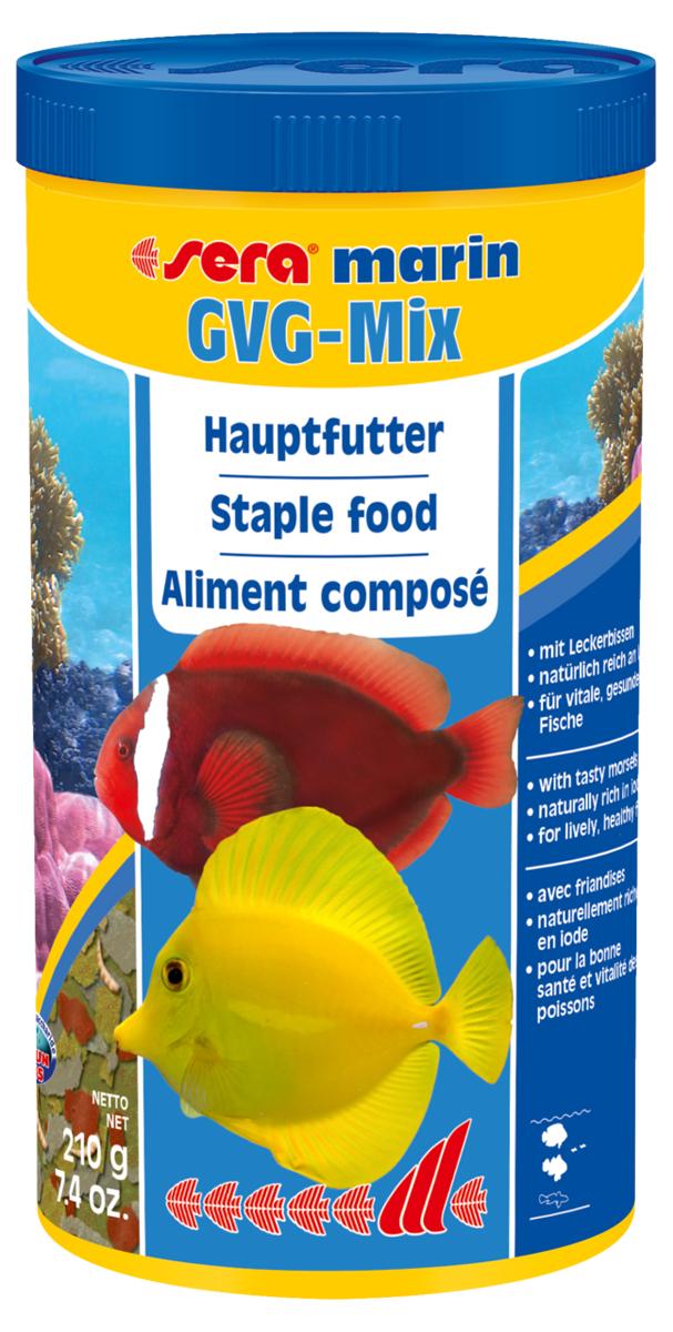 Корм для морских рыб Sera Gvg-Mix Marin, 1 л (210 г)0120710Корм для морских рыб Sera Gvg-Mix Marin - это медленно тонущий основной корм, состоящий из мягких хлопьев и бережно высушенных кормовых организмов. Состоит на 80% из морских водорослей, криля и планктона, на 20% из сублимированных мотыля дафнии и креветок артемия. Высушенные целиком кормовые организмы вносят в кормление столь необходимое разнообразие. Корм предназначен для кормления всех видов морских рыб, особо нуждающихся в йоде и минеральных веществах в отличие от пресноводных рыб. Инструкция по применению: Кормить один-два раза в день, но только в том количестве, которое рыбы могут съесть в течение короткого периода времени. Ингредиенты: рыбная мука, пшеничная мука, казеинат кальция, пивные дрожжи, криль (3,6%), морские водоросли, гаммарус, красный мотыль (2,7%), дафния (2,7%), цельный яичный порошок, спирулина, маннанолигосахариды (0,4%), жир из печени рыбы (34% омега жирных кислот), растительное сырье, крапива, люцерна, петрушка, паприка, зеленые мидии, шпинат, морковь, водоросль гематококкус, чеснок. Аналитический состав: протеин 47,7%, жиры 7,0%, клетчатка 3,8%, влажность 5,2%, зольные вещества 12,3%. Содержание добавок: витамин A 33.640 lU/kg, витамин D3 31.640 lU/kg, витамин E (D, L-a-tocopheryl acetate) 109 mg/kg, витамин B1 32 mg/kg, витамин B2 82 mg/kg, стаб. витамин С (L-ascorbyl monophosphate) 500 mg/kg. Содержит пищевые красители, допустимые в ЕС. Товар сертифицирован.