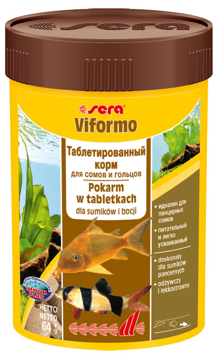 Корм для рыб Sera Viformo, 100 мл (64 г), 275 таблеток0540Корм для рыб Sera Viformo предназначен для сомиков и способствует их здоровому развитию и жизнестойкости. Корм выполнен в виде легко усваиваемых таблеток. Таблетки при опускании на дно делятся на крохотные кусочки, что гарантирует соответствующее питание для рыб с маленьким ртом, например, панцирных сомов или гольцов. Кусочки корма остаются спрессованными и не загрязняют воду. Формула Vital-Immun-Protect гарантирует рыбам прекрасное здоровье, укрепление иммунитета и обилие жизненных сил. Инструкция по применению: Кормить один-два раза в день, но только в том количестве, которое рыбы могут съесть в течение короткого периода времени. Ингредиенты: рыбная мука, пшеничная мука, сухое молоко, пивные дрожжи, казеинат кальция, ганмарус, сахар, цельный яичньм порошок, спирулма, морские водоросли, маннанолитсахариды (0,4%), жир из печени рыбы (34% Омега жирных кислот), растительное сырье, лоцерна, крапива, петрушка, зеленые мидии, водоросль гематококкус,...