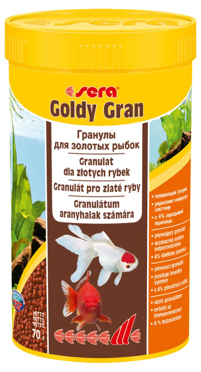 Корм для рыб Sera Goldy Gran, 250 мл (70 г)0862Корм для рыб Sera Goldy Gran - комплексный корм для холодноводных рыб (аквариумных и прудовых), идеальный основной корм для золотых рыбок. Плавающие гранулы корма, благодаря высококачественным ингредиентам, обеспечивают всеми необходимыми питательными веществами даже самые привередливые виды рыб. Входящие в состав корма зародыши пшеницы гарантируют высокую усвояемость корма, в том числе при низких температурах. Рыбы, таким образом, растут и остаются здоровыми без перекармливания. Результатом кормления этим кормом будут яркие цвета, здоровый рост, крепкая иммунная система, плодовитость и жизнеспособность рыб. Инструкция по применению: Кормите небольшими порциями один-два раза в день, в течение всего года. Дозируйте такое количество корма, которое рыбы могут съесть в течение короткого периода времени. Ингредиенты: рыбная мука, кукурузный крахмал, пшеничная мука, пшеничные зародыши (4%), пшеничная клейковина, рыбий жир, пивные дрожжи, маннанолигосахариды...