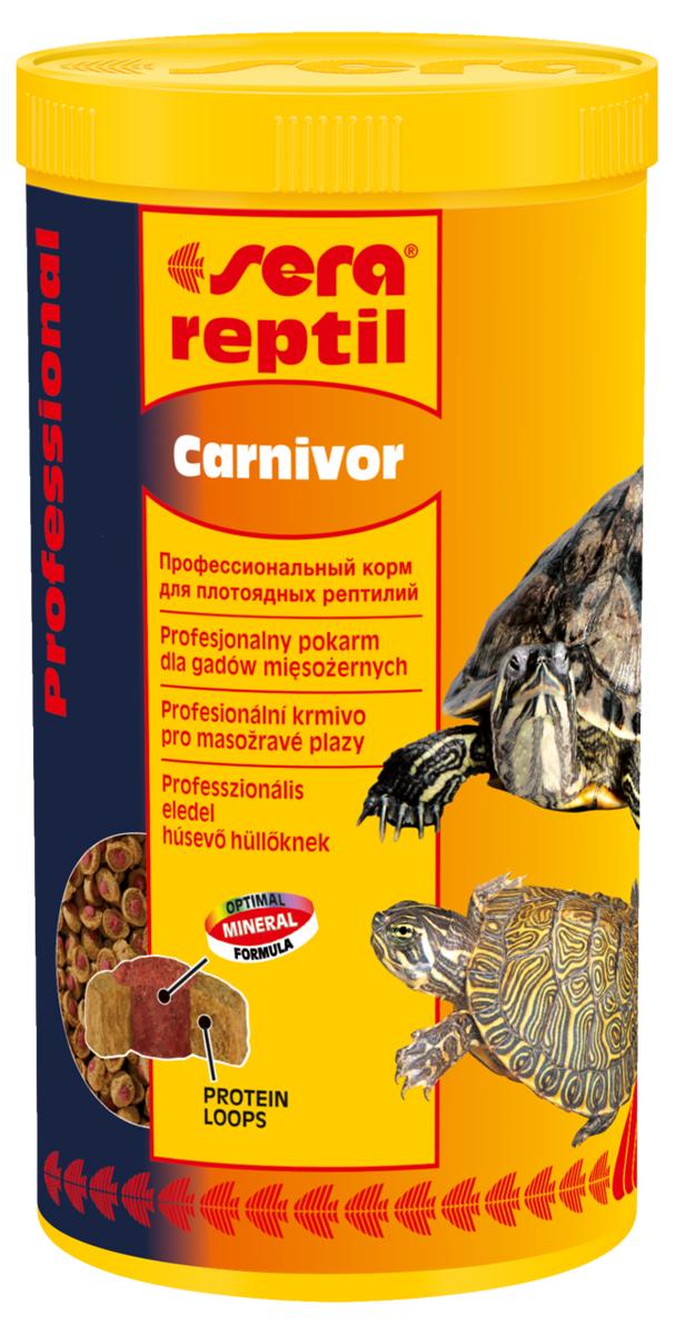Корм для рептилий Sera Reptil Professional Carnivor, 1000 мл (330 г)1822Комплексный корм для водяных черепах и других плотоядных рептилий. Инновационный коэкструдат объединяющий в себе вкусную оболочку – кольцо, в котором содержаться высококачественные белки и жиры и сердцевину, произведенную с помощью щадящего низкотемпературного процесса, сохраняющего ценные питательные вещества, с высоким содержанием необходимых витаминов, минералов и других жизненно важных веществ. Оптимальное соотношение кальцияи фосфора обеспечивает здоровый рост костей и панциря животных. Инструкция по применению: Кормить экономно. Смешать со свежим кормом в соответствии с потребностями животных. Ингредиенты: рыбная мука, кукурузный крахмал, пшеничная клейковина, пшеничная мука, пивные дрожжи, цельный яичный порошок, рыбий жир, гаммарус, морские водоросли, зеленые мидии, криль, чеснок. Аналитический состав: Протеин 37,4%, Жиры 6,2%, Клетчатка 5,6%, Влажность 5,2%, Зольные вещества 7,5%, Кальций 2,0%, Фосфор 1,0%. Содержание добавок: Витамины и провитамины: Bит. A 37.000 МЕ/кг, Bит....