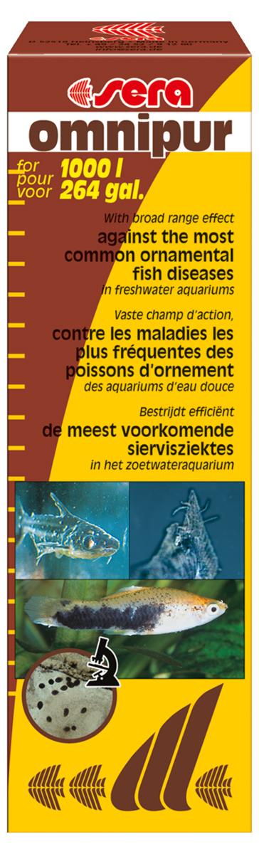Средство для воды Sera Omnipur, 50 мл0120710Средство для воды Sera Omnipur эффективно против распространенных заболеваний рыб в пресноводных аквариумах: бактериальные инфекции, гниение плавников, грибковые инфекции (Saprolegnia, Achlya), налет на коже (Costia, Chilodonella), триходиниоз, оодиниоз, жаберные и кожные черви (Dactylogyrus или Gyrodactylus), кожные ранения.50 мл достаточно для обработки 1000 литров воды.