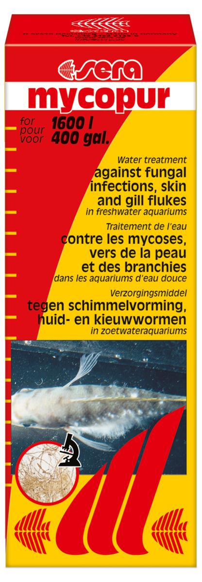 Средство для воды Sera Mycopur, 100 мл0120710Средство для воды Sera Mycopur против грибков (Saprolegnia), кожных и жаберных червей в пресноводном аквариуме, а также для профилактики грибковых поражений икры. Одновременное добавление средства Sera Ectopur повысит эффективность лечения.