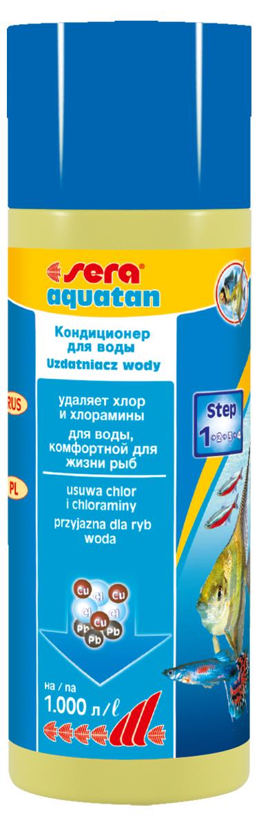 Кондиционер для воды Sera Aquatan, 250 мл3050При каждой подмене воды в аквариум могут попасть такие токсичные вещества, как хлор и тяжелые металлы. Эти вещества могут присутствовать в концентрациях, опасных для жизни рыб даже в хорошо очищенной водопроводной воде. Средство для воды Sera Aquatan немедленно удаляет вредные вещества и превращает водопроводную воду в здоровую аквариумную, комфортную для жизни рыб. Он гарантирует оптимальные условия для жизни рыб, беспозвоночных, растений, а также полезных микроорганизмов. Для обеспечения рыб комфортной для жизни, безопасной и чистой водой Sera Aquatan немедленно удаляет хлор и хлорамины, связывает токсичные тяжелые металлы, такие как медь, цинк или свинец, предотвращает загрязнение воды аммиаком, pH-нейтральная формула. В комбинации с sera bio nitrivec способствует быстрой адаптации вновь купленных рыб к существующим в аквариуме условиям.