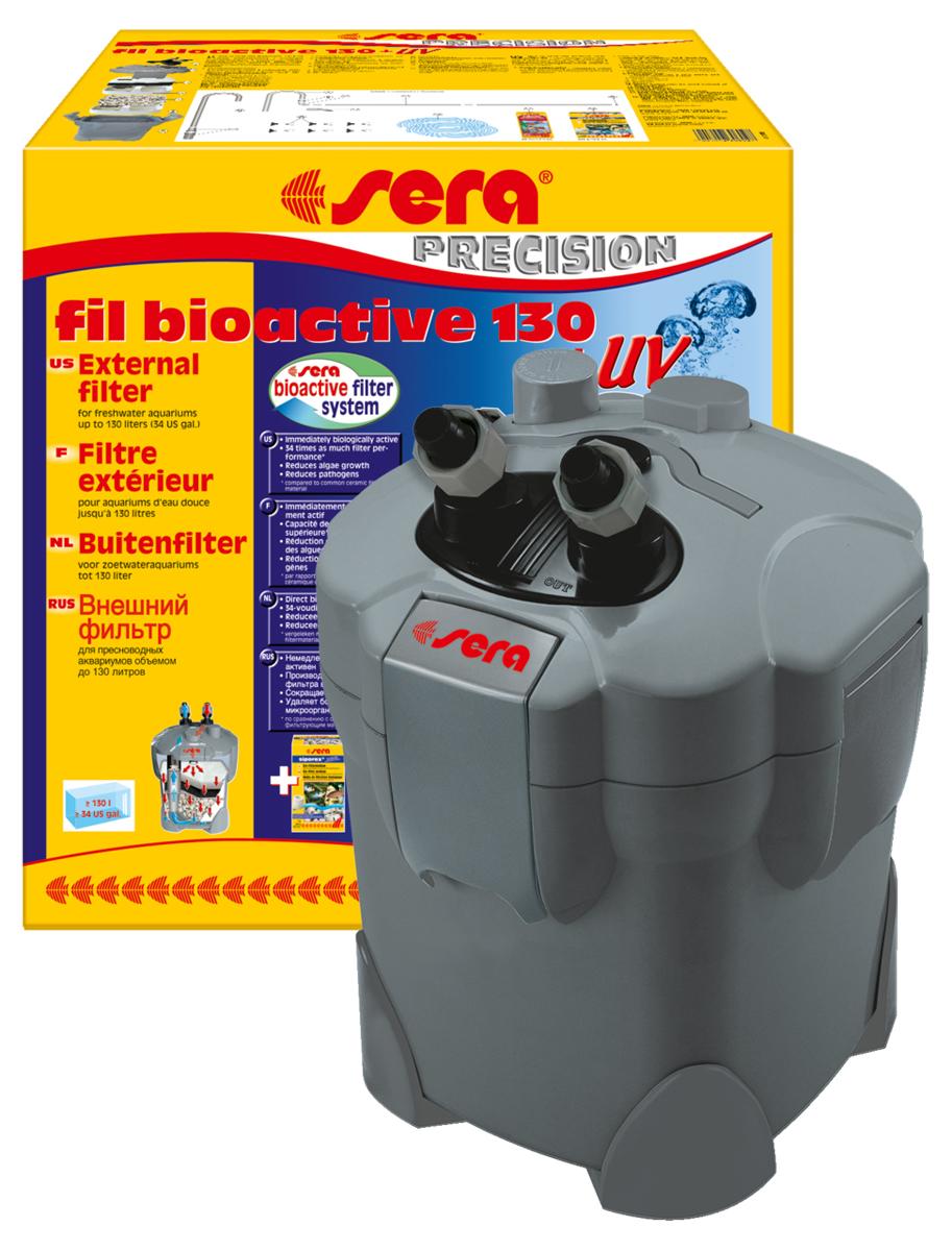 Фильтр аквариумный внешний Sera Serafil Bioactive 130 + УФ0120710Многоцелевые, удобные и простые в использовании внешние фильтры с встроенным УФ-стерилизатором для пресноводных аквариумов. Эти мощные, и при этом экономящие энергию, внешние фильтры с большим количеством принадлежностей готовы к эксплуатации и немедленно биологически активны. Емкости для фильтрующих материалов гарантируют оптимальную послойную укладку фильтрующих материалов и простой доступ к ним. Входной и выходящий патрубки фильтров разработаны таким образом, что соединительные шланги могут отделяться для чистки с помощью разборных соединений с регулируемым вентилем. Фильтры серии УФ (130 + УФ, 250 + УФ, 400 + УФ) оснащены встроенной УФ-лампой 5 Вт, которая облучает жестким УФ-излучением фильтруемую воду, уничтожая болезнетворных организмов, паразитов и водорослей на стадии размножения. Надежные фильтры отличаются тихой работой двигателя и длительным сроком службы. Все фильтры поставляются с высокоэффективным фильтрующим материалом Sera siporax Professional и биологическим активатором Sera filter biostart. Немедленно готовы к эксплуатации и биологически активны.