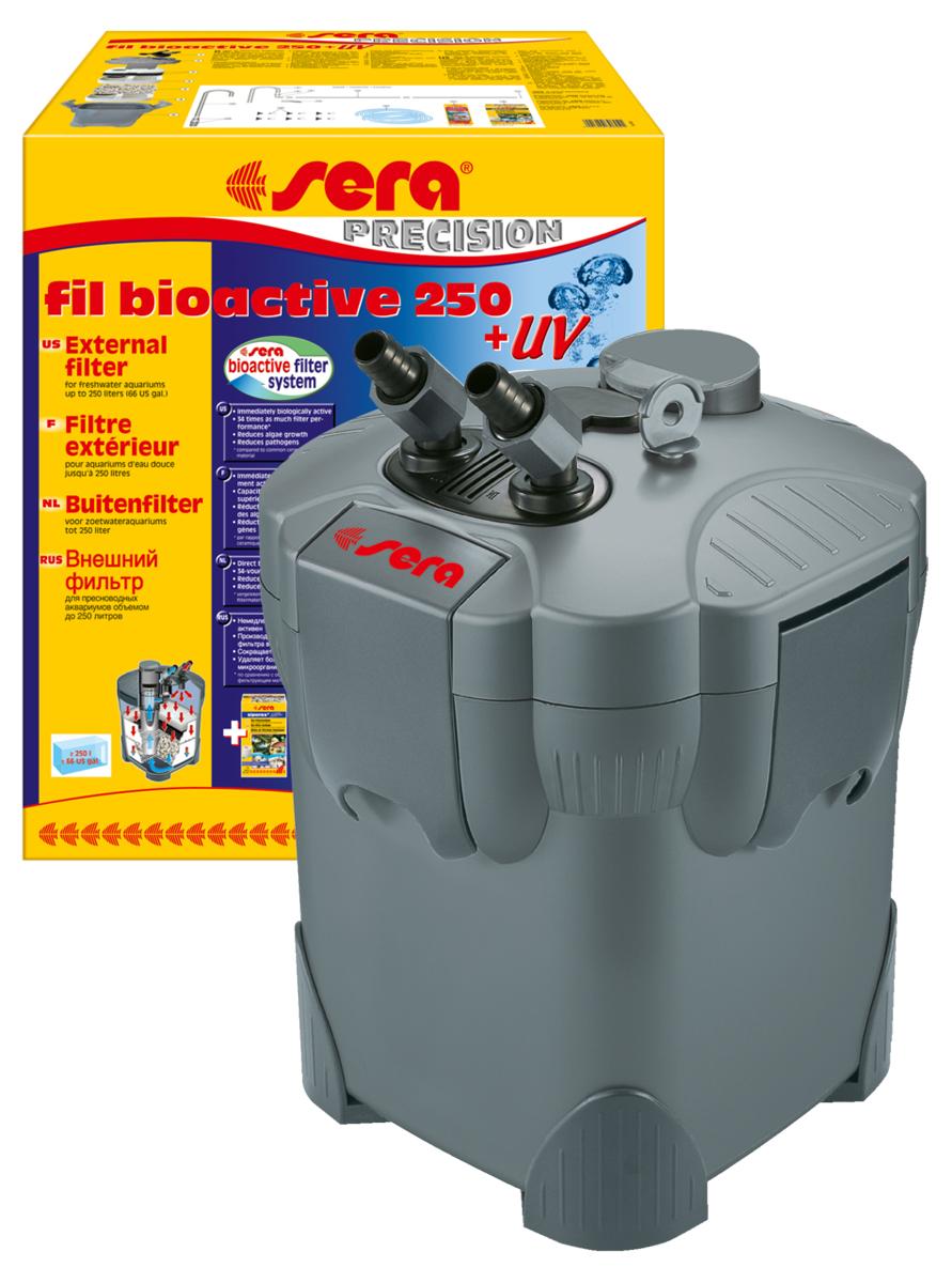 Фильтр аквариумный внешний Sera Fil Bioactive 250 + УФ0120710Фильтр аквариумный внешний Sera Fil Bioactive - это многоцелевой, удобный и простой в использовании внешний фильтр с встроенным УФ-стерилизатором для пресноводных аквариумов. Этот мощный и при этом экономящий энергию внешний фильтр с большим количеством принадлежностей готов к эксплуатации и немедленно биологически активен. Емкости для фильтрующих материалов гарантируют оптимальную послойную укладку фильтрующих материалов и простой доступ к ним. Входной и выходящий патрубки фильтров разработаны таким образом, что соединительные шланги могут отделяться для чистки с помощью разборных соединений с регулируемым вентилем. Фильтры серии УФ (130 + УФ, 250 + УФ, 400 + УФ) оснащены встроенной УФ-лампой 5 Вт, которая облучает жестким УФ-излучением фильтруемую воду, уничтожая болезнетворных организмов, паразитов и водорослей на стадии размножения.Модель отличается тихой работой двигателя и длительным сроком службы. Поставляется с высокоэффективным фильтрующим материалом Sera siporax Professional и биологическим активатором Sera filter biostart.