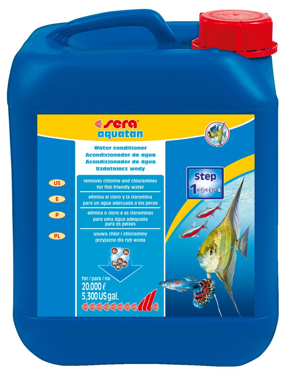 Кондиционер для воды Sera Aquatan, 5 л0120710При каждой подмене воды в аквариум могут попасть такие токсичные вещества, как хлор и тяжелые металлы. Эти вещества могут присутствовать в концентрациях, опасных для жизни рыб даже в хорошо очищенной водопроводной воде. Средство для воды Sera Aquatan немедленно удаляет вредные вещества и превращает водопроводную воду в здоровую аквариумную, комфортную для жизни рыб. Он гарантирует оптимальные условия для жизни рыб, беспозвоночных, растений, а также полезных микроорганизмов. Для обеспечения рыб комфортной для жизни, безопасной и чистой водой Sera Aquatan немедленно удаляет хлор и хлорамины, связывает токсичные тяжелые металлы, такие как медь, цинк или свинец, предотвращает загрязнение воды аммиаком, pH-нейтральная формула. В комбинации с sera bio nitrivec способствует быстрой адаптации вновь купленных рыб к существующим в аквариуме условиям.