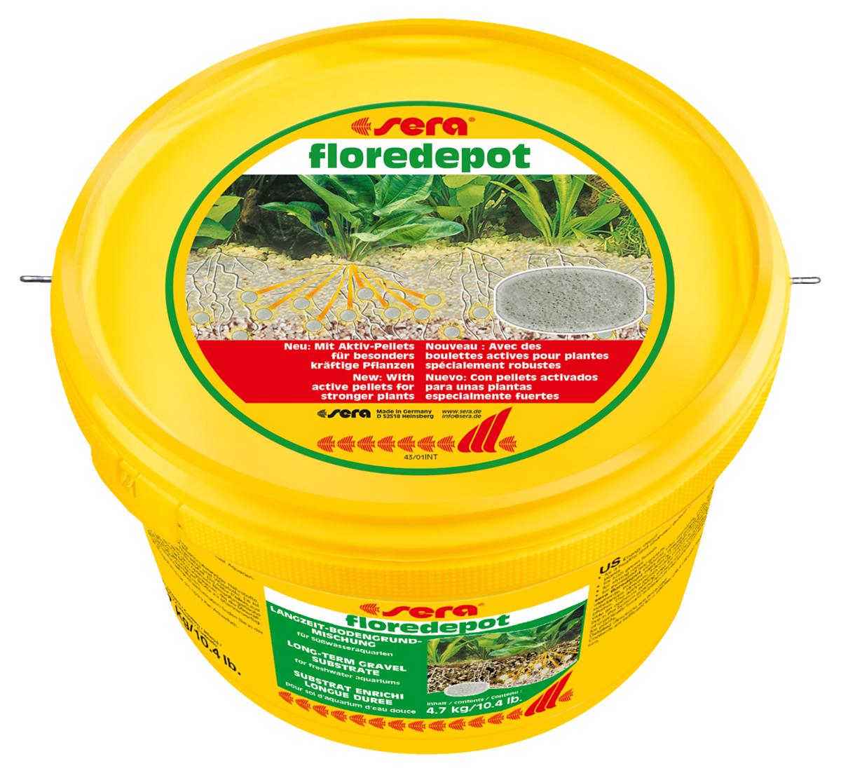 Грунт для аквариумных растений Sera Floredepot, 4,7 кг0120710Грунт для аквариумных растений Sera Floredepot - питательный грунт длительного использования для водных растений в пресноводных аквариумах. Состоит из чистого промытого песка, специально подготовленного торфа, микроэлементов, питательных солей и других жизненно необходимых веществ. Инструкция по применению: Флоредепот используется при первом запуске аквариума. Грунт необходимо равномерно распределить по дну аквариума в той части, где впоследствии предполагается высадить водные растения. Примерный расчет: упаковка 2,4 кг для аквариумов до 60 л, упаковка 4,7 кг - до 100 л воды.