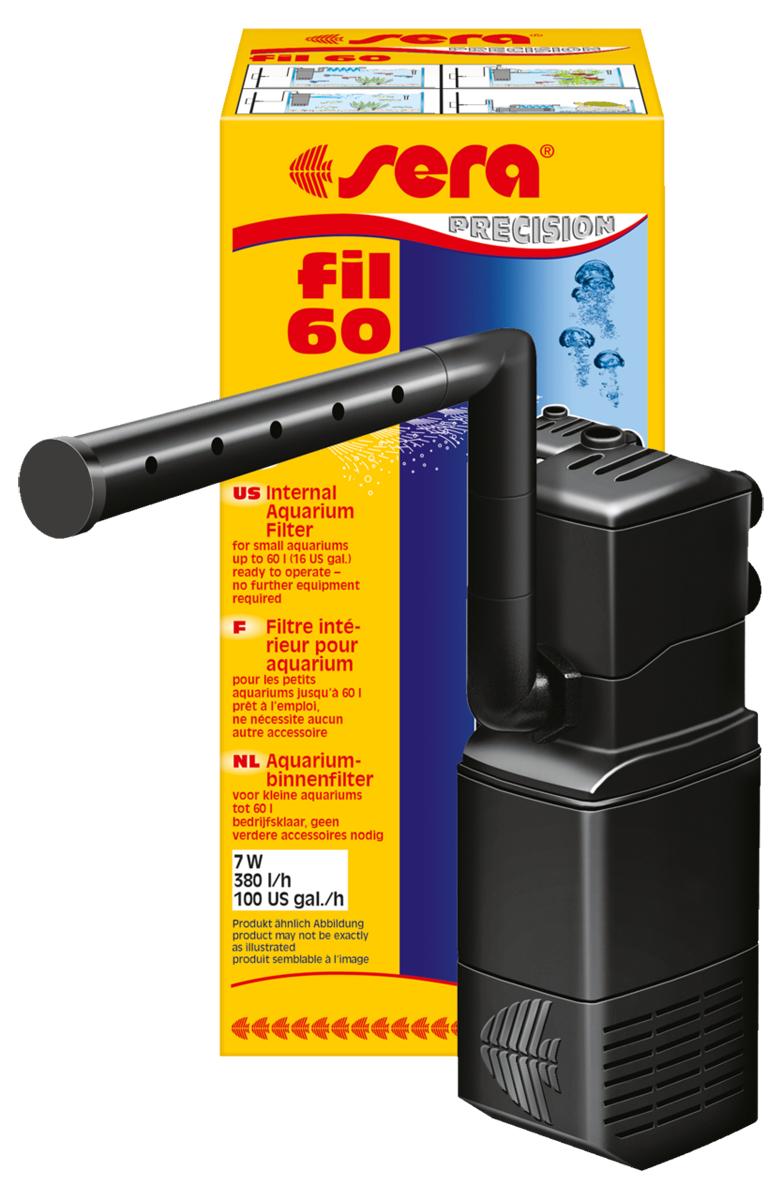 Фильтр аквариумный внутренний Sera Fil, до 60 л0120710Фильтр аквариумный внутренний Sera Fil предназначен для аквариумов объемом до 60 литров. Дополнительное преимущество: подача воды при помощи трубки Вентури (аэрация) помогает насыщать воду кислородом. Широчайший набор аксессуаров, состоящий из коленчатых трубок, флейты для распыления воды и присосок, позволяет установить фильтр в самых разных положениях. Так как фильтр можно установить в горизонтальном положении, он отлично подойдет для акватеррариумов с черепахами, имеющими низкий уровень воды. Фильтр может быть усовершенствован при помощи дополнительных модулей и практически не требует обслуживания – одобрение TUV/GS и CE гарантирует безопасность использования.
