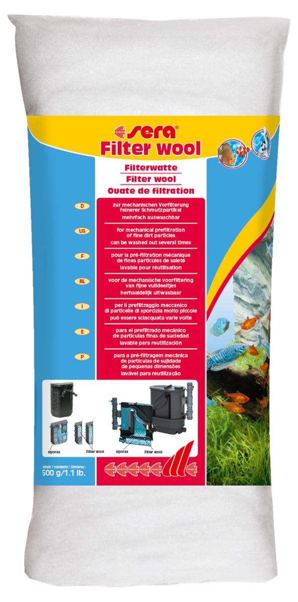 Фильтрующая вата Sera Filter Wool, 500 г8466Фильтрующая вата Sera Filter Wool предназначена для использования в качестве фильтрующего материала тонкой очистки в любых внешних и внутренних фильтрах аквариумов. Перед использованием в фильтре тщательно промойте фильтрующую вату под струей теплой воды.