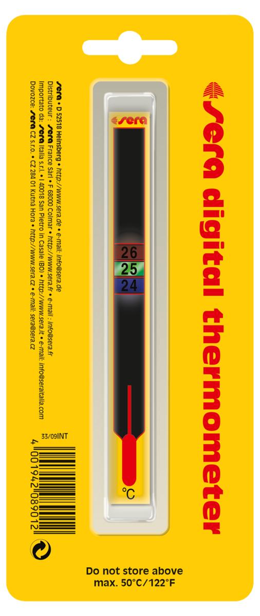 Термометр аквариумный Sera Digital, жидкокристаллический8901Жидкокристаллический самоклеющийся термометр для аквариумов и террариумов. Аккуратно вскройте упаковку и, отклеив защитную пленку, наклейте термометр на стекло аквариума в выбранном месте с наружной стороны. Температура воды в аквариуме отображается в квадратах, изменивших свой цвет. Приклеенный к стеклу термометр, при необходимости, можно легко удалить, при этом на стекле не останется следов клея.