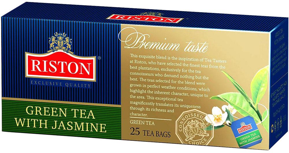 Riston Зеленый чай с лепестками жасмина в пакетиках, 25 шт101246Зеленый чай Riston с добавлением лепестков жасмина. Ярко выраженный золотистый настой напитка с особым утонченным вкусом и восхитительным цветочным ароматом жасмина дарит ощущение свежести и бодрости в течение всего дня.