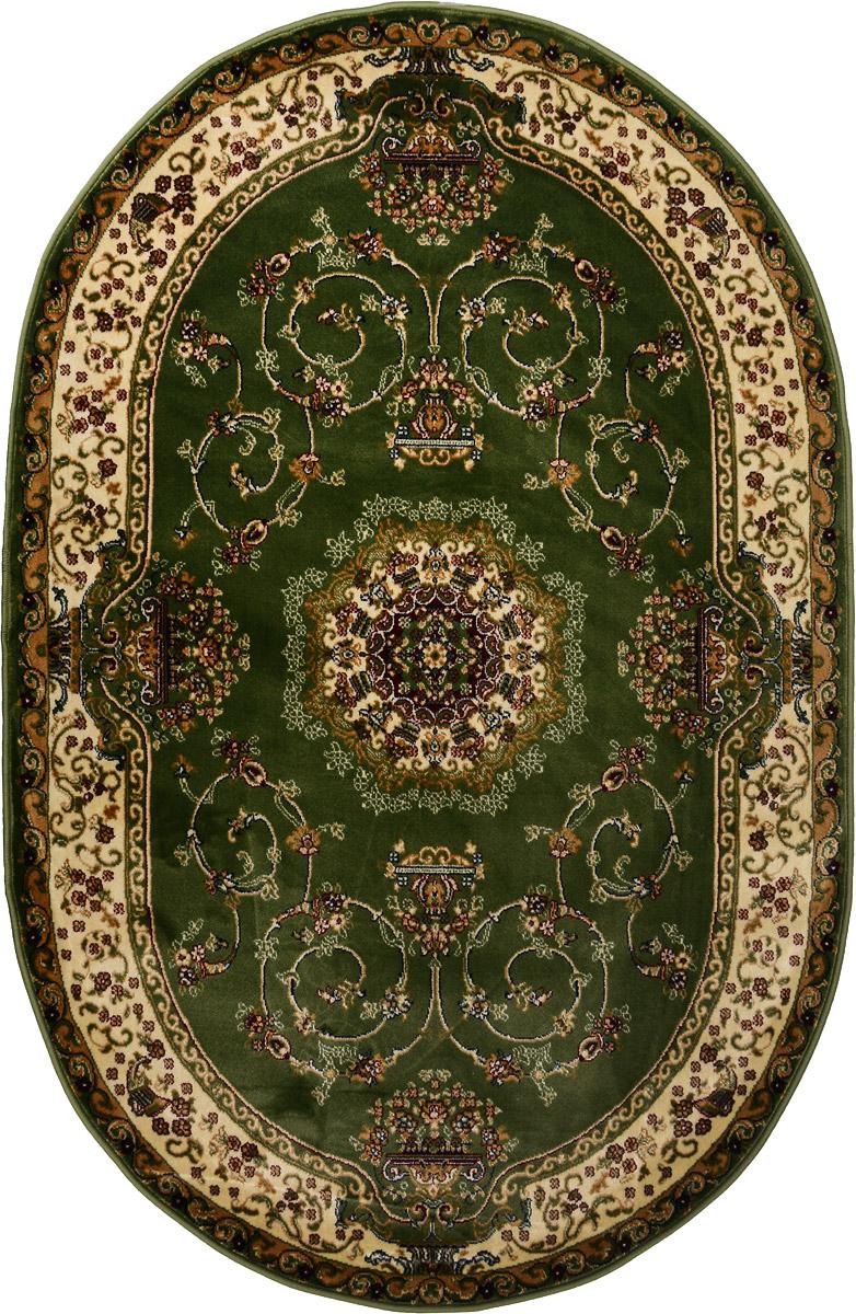 Ковер ART Carpets Арт Сапфир, овальный, 120 х 180 смUP210DFКовер ART Carpets Арт Сапфир изготовлен из вискозы (100% полипропилена). Структура волокна гладкая, поэтому грязь не будет въедаться и скапливаться на ворсе. Практичный и износоустойчивый ворс не истирается и не накапливает статическое электричество. Ковер обладает хорошими показателями теплостойкости и шумоизоляции. Оригинальный рисунок позволит гармонично оформить интерьер комнаты, гостиной или прихожей. За счет невысокого ворса ковер легко чистить. При надлежащем уходе ковер прослужит долго, не утратив ни яркости узора, ни блеска ворса, ни упругости. Самый простой способ избавить изделие от грязи - пропылесосить его с обеих сторон (лицевой и изнаночной). Хранить рекомендуется в свернутом рулоном виде.