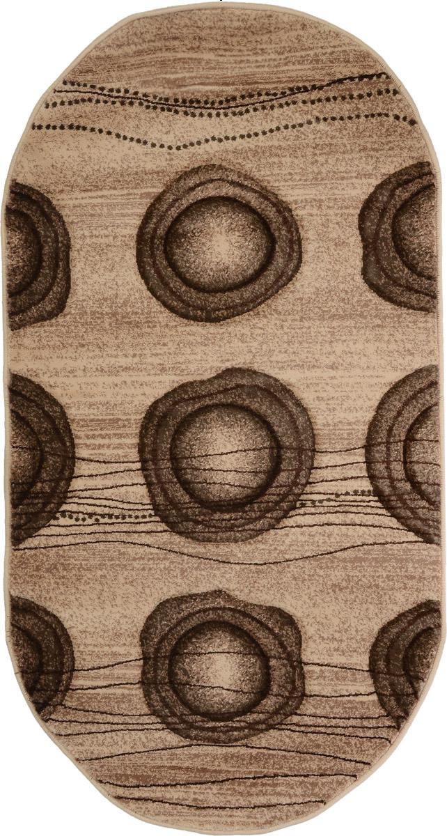 Ковер Mutas Carpet Карвинг, овальный, цвет: бежевый, коричневый, 80 х 150 см35750N20120820103543Ковер Mutas Carpet Карвинг изготовлен из прочного синтетического материала heat-set, улучшенного варианта полипропилена (эта нить получается в результате его дополнительной обработки). Полипропилен износостоек, нетоксичен, не впитывает влагу, не провоцирует аллергию. Структура волокна в полипропиленовых коврах гладкая, поэтому грязь не будет въедаться и скапливаться на ворсе. Практичный и износоустойчивый ворс не истирается и не накапливает статическое электричество. Ковер обладает хорошими показателями теплостойкости и шумоизоляции. Оригинальный рисунок позволит гармонично оформить интерьер комнаты, гостиной или прихожей. За счет невысокого ворса ковер легко чистить. При надлежащем уходе синтетический ковер прослужит долго, не утратив ни яркости узора, ни блеска ворса, ни упругости. Самый простой способ избавить изделие от грязи - пропылесосить его с обеих сторон (лицевой и изнаночной). Влажная уборка с применением шампуней...