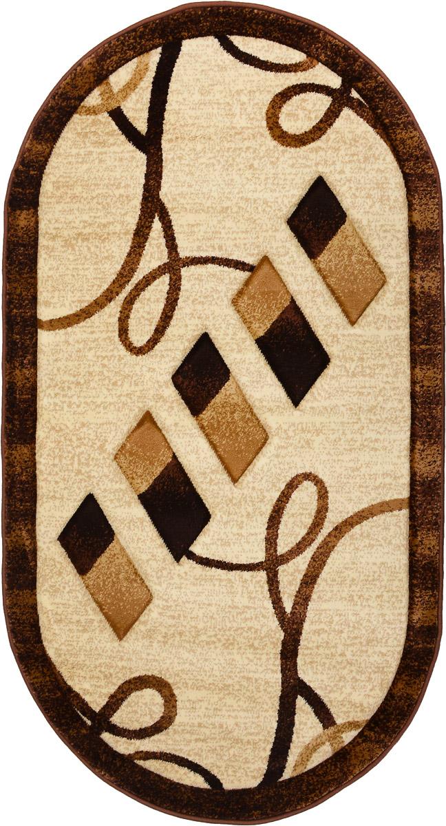 Ковер Emirhan Imperial Carving, овальный, цвет: коричневый, бежевый, 80 х 150 см203420130212179866Ковер Emirhan Imperial Carving изготовлен из прочного синтетического материала heat-set, улучшенного варианта полипропилена (эта нить получается в результате его дополнительной обработки). Полипропилен износостоек, нетоксичен, не впитывает влагу, не провоцирует аллергию. Структура волокна в полипропиленовых коврах гладкая, поэтому грязь не будет въедаться и скапливаться на ворсе. Практичный и износоустойчивый ворс не истирается и не накапливает статическое электричество. Ковер обладает хорошими показателями теплостойкости и шумоизоляции. Оригинальный рисунок позволит гармонично оформить интерьер комнаты, гостиной или прихожей. За счет невысокого ворса ковер легко чистить. При надлежащем уходе синтетический ковер прослужит долго, не утратив ни яркости узора, ни блеска ворса, ни упругости. Самый простой способ избавить изделие от грязи - пропылесосить его с обеих сторон (лицевой и изнаночной). Влажная уборка с применением ...