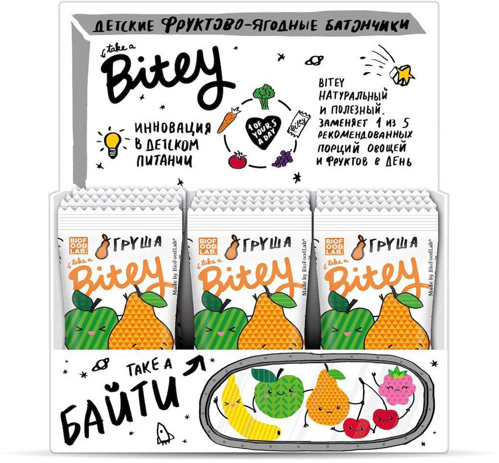 Take A Bitey Груша батончик орехово-фруктовый, 30 шт х 25 г4650062591211Абсолютно натуральный перекус из груши и яблок для маленьких открывателей. В каждом батончике удивительное сочетание полезных фруктов и ягод, которое придется по вкусу начинающим гурманам.