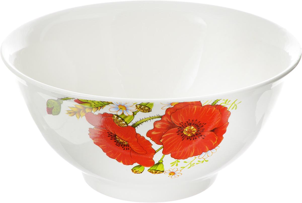Салатник Кубаньфарфор Красные маки, 800 мл салатник кубаньфарфор роза кавказа 18 5 х 18 5 см