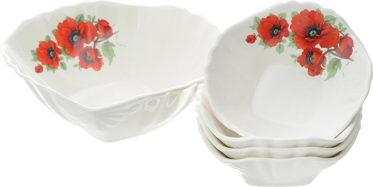 Набор салатников Кубаньфарфор Мак, 5 предметов салатник кубаньфарфор роза кавказа 18 5 х 18 5 см