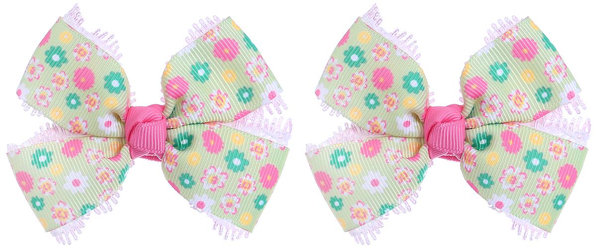 Baby's Joy Резинка для волос с бантиком Школа цвет салатовый зеленый розовый 2 шт MN 134/2_салатовый, зеленый, розовый, цветы