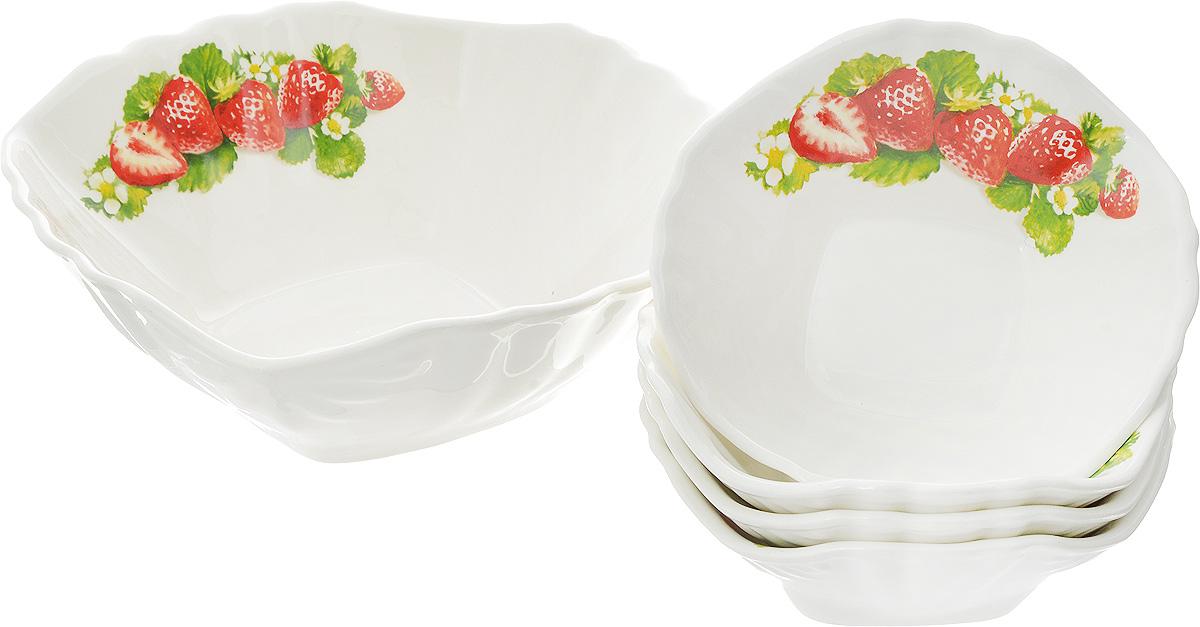 Набор салатников Кубаньфарфор Клубника новая, 5 предметов салатник кубаньфарфор роза кавказа 18 5 х 18 5 см