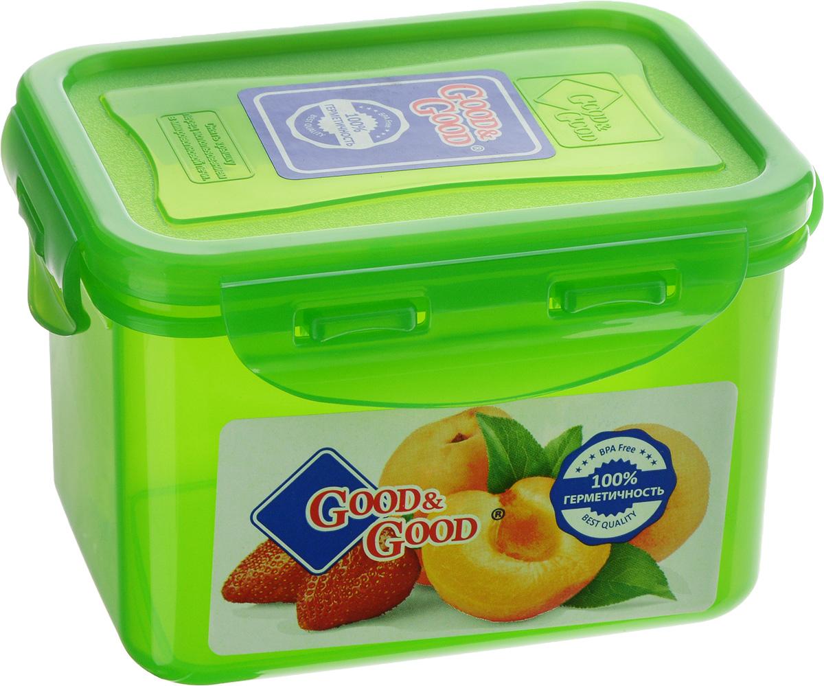 Контейнер пищевой Good&Good, цвет: зеленый, 630 мл02-2/COLORS_зеленыйПрямоугольный контейнер Good&Good изготовлен из высококачественного полипропилена и предназначен для хранения любых пищевых продуктов. Благодаря особым технологиям изготовления, лотки в течение времени службы не меняют цвет и не пропитываются запахами. Крышка с силиконовой вставкой герметично защелкивается специальным механизмом. Контейнер Good&Good удобен для ежедневного использования в быту. Можно мыть в посудомоечной машине и использовать в микроволновой печи. Размер контейнера (с учетом крышки): 13 х 10 х 8,5 см.