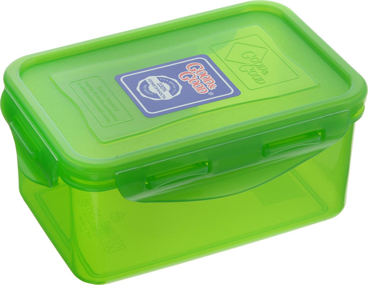 Контейнер пищевой Good&Good, цвет: зеленый, 800 мл2-2/COLORS_зеленыйПрямоугольный контейнер Good&Good изготовлен из высококачественного полипропилена и предназначен для хранения любых пищевых продуктов. Благодаря особым технологиям изготовления, лотки в течение времени службы не меняют цвет и не пропитываются запахами. Крышка с силиконовой вставкой герметично защелкивается специальным механизмом. Контейнер Good&Good удобен для ежедневного использования в быту. Можно мыть в посудомоечной машине и использовать в микроволновой печи. Размер контейнера (с учетом крышки): 16 х 11 х 7,5 см.