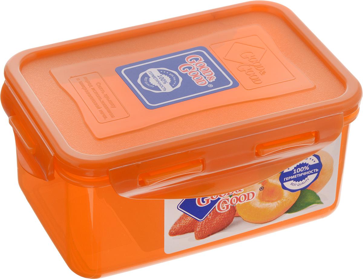 Контейнер пищевой Good&Good, цвет: оранжевый, 800 мл2-2/COLORS_оранжевыйПрямоугольный контейнер Good&Good изготовлен из высококачественного полипропилена и предназначен для хранения любых пищевых продуктов. Благодаря особым технологиям изготовления, лотки в течение времени службы не меняют цвет и не пропитываются запахами. Крышка с силиконовой вставкой герметично защелкивается специальным механизмом. Контейнер Good&Good удобен для ежедневного использования в быту. Можно мыть в посудомоечной машине и использовать в микроволновой печи. Размер контейнера (с учетом крышки): 16 х 11 х 7,5 см.