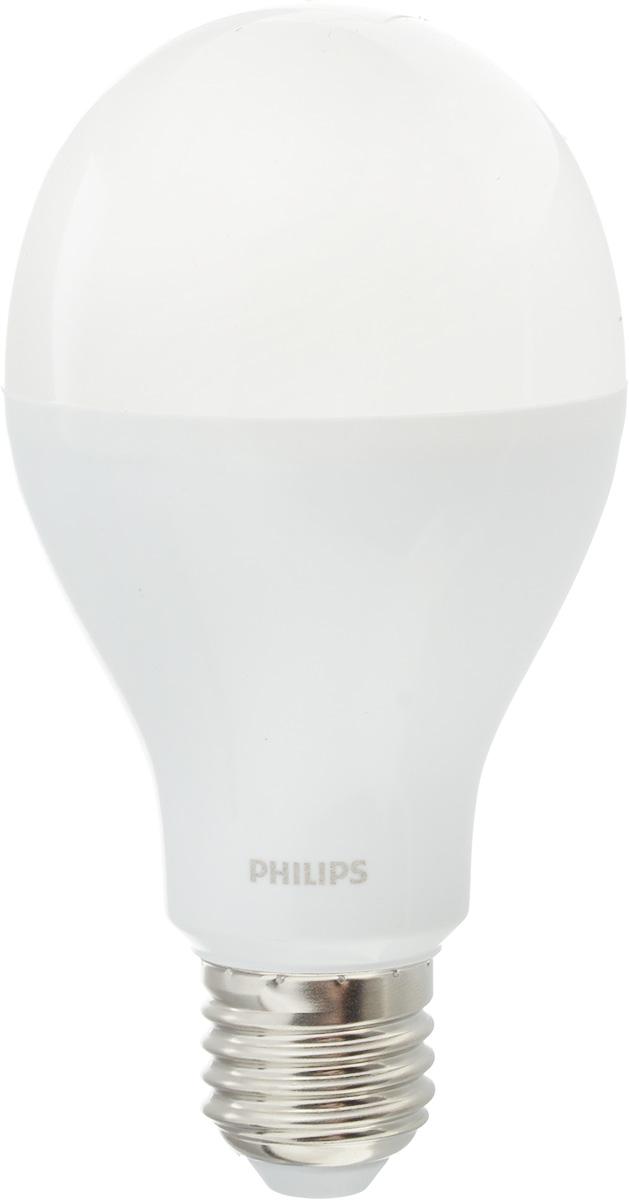 Лампа светодиодная Philips, цоколь E27, 18W, 6500КЛампа LEDBulb 18-130W E27 6500K 230V A67Современные светодиодные лампы Philips экономичны, имеют долгий срок службы и мгновенно загораются, заполняя комнату светом. Лампа классической формы и высокой яркости позволяет создать уютную и приятную обстановку в любой комнате вашего дома. Светодиодные лампы потребляют на 86 % меньше электроэнергии, чем обычные лампы накаливания, излучая при этом привычный и приятный теплый свет. Срок службы светодиодной лампы Philips составляет до 15 000 часов, что соответствует общему сроку службы 15 ламп накаливания. В результате менять лампы приходится значительно реже, что сокращает количество отходов. Напряжение: 220-240 В. Световой поток: 2000 lm. Угол светового пучка: 270°.