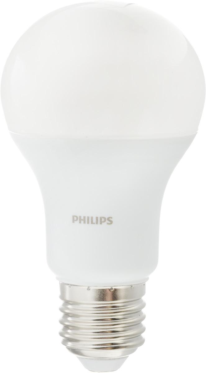 Лампа светодиодная Philips LED buld, цоколь E27, 10,5W, 3000КЛампа LEDBulb 10.5-85WE273000K230VA60/PFСовременные светодиодные лампы Philips LED buld экономичны, имеют долгий срок службы и мгновенно загораются, заполняя комнату светом. Лампа классической формы и высокой яркости позволяет создать уютную и приятную обстановку в любой комнате вашего дома. Светодиодные лампы потребляют на 87 % меньше электроэнергии, чем обычные лампы накаливания, излучая при этом привычный и приятный теплый свет. Срок службы светодиодной лампы Philips составляет до 15 000 часов, что соответствует общему сроку службы 15 ламп накаливания. В результате менять лампы приходится значительно реже, что сокращает количество отходов. Напряжение: 220-240 В. Световой поток: 1055 lm. Угол светового пучка: 270°.