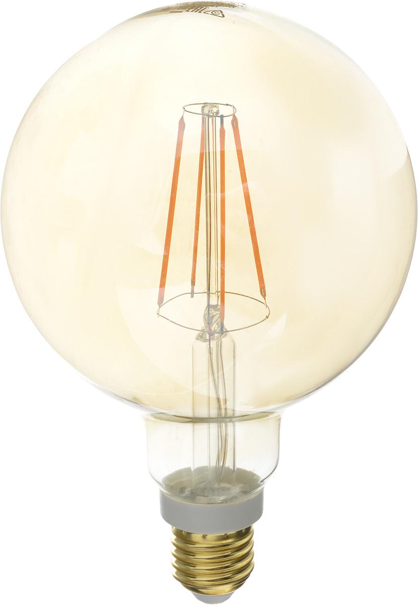 Лампа светодиодная Philips LED bulb, цоколь E27, 7W, 2000KЛампа LEDCl 7-60W G120 E27 2000K GOLDСовременные светодиодные лампы LED bulb экономичны, имеют долгий срок службы и мгновенно загораются, заполняя комнату светом. Лампа классической формы и высокой яркости позволяет создать уютную и приятную обстановку в любой комнате вашего дома. Светодиодные лампы потребляют на 88 % меньше электроэнергии, чем обычные лампы накаливания, излучая при этом привычный и приятный теплый свет. Срок службы светодиодной лампы LED bulb составляет до 15 000 часов, что соответствует общему сроку службы пятнадцати ламп накаливания. Благодаря чему менять лампы приходится значительно реже, что сокращает количество отходов. Напряжение: 220-240 В. Световой поток: 630 lm. Эквивалент мощности в ваттах: 60 Вт.